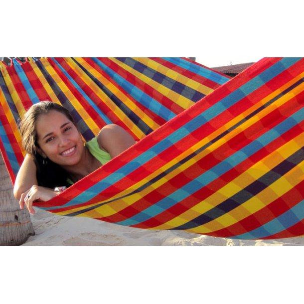 Lille hængekøje - 1 person i farverigt ternet stof