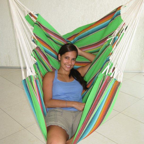 Hængekøjestol i farverigt stof - Mexico Grøn