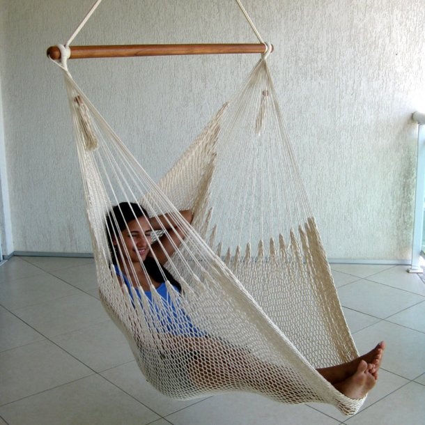 Hængekøjestol i naturhvidt Net af bomuld