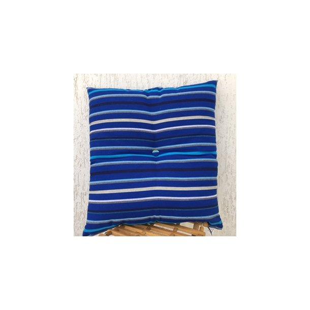 Blå stribet kvalitets pude i bomuld med acryl fyld