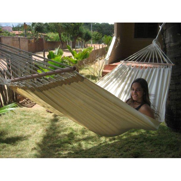 Naturhvid hængekøje med tvær stænger 80 cm