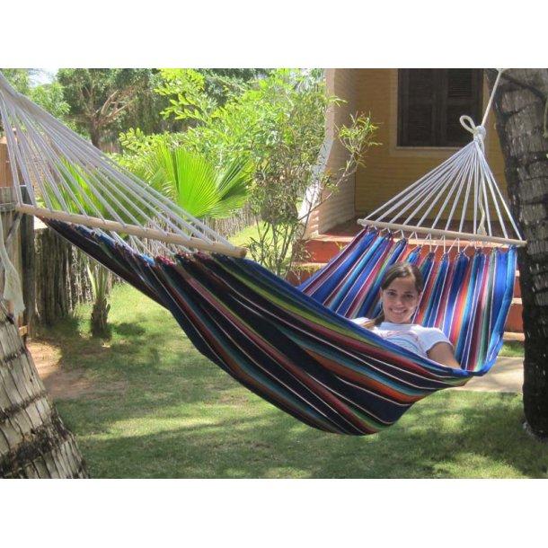 Stof-hængekøje med 80 cm rundstokke i Mexico blå
