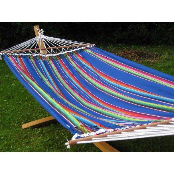Mexico blå stribet hængekøje med 140 cm rundstokke