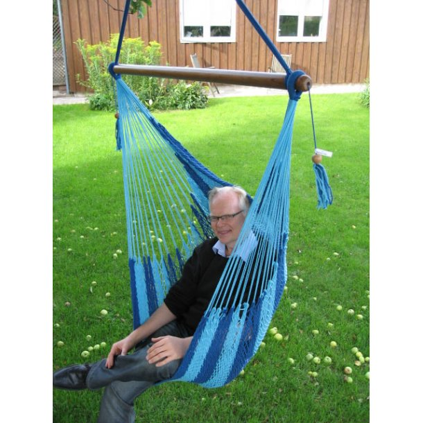 Hængestol i net mixet i blå og turkis farve