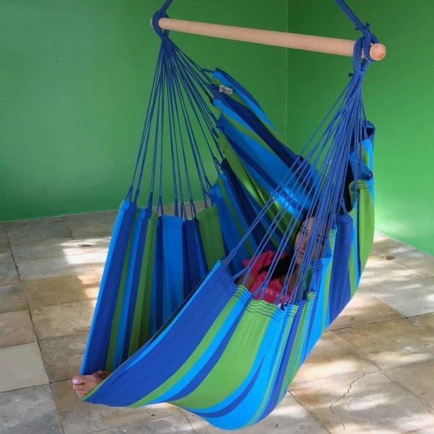 Grøn turkis blå stribet hængestol i bomuld